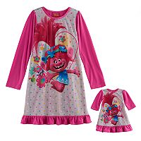 Girls 4-12 DreamWorks Trolls Poppy Nightgown & Doll Gown Set