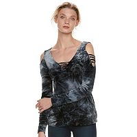 Women's Rock & Republic® Strappy Cold-Shoulder Velvet Top