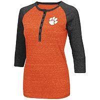 Women's Campus Heritage Clemson Tigers 3/4-Sleeve Henley Tee