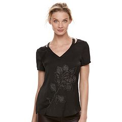 Women's Rock & Republic® Cutout Beaded Rose Tee