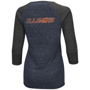 Women's Campus Heritage Illinois Fighting Illini 3/4-Sleeve Henley Tee