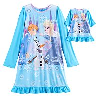 Disney's Frozen Elsa, Anna & Olaf Girls 4-10 Nightgown & Doll Gown Set