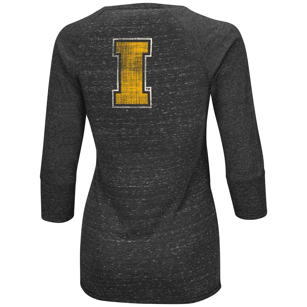 Women's Campus Heritage Iowa Hawkeyes 3/4-Sleeve Henley Tee