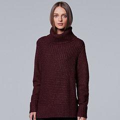 Women's Simply Vera Vera Wang Metallic Turtleneck Sweater