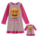 "Girls 4-10 Emoji ""I'm Pretty Amazing"" Nightgown & Doll Gown Set"
