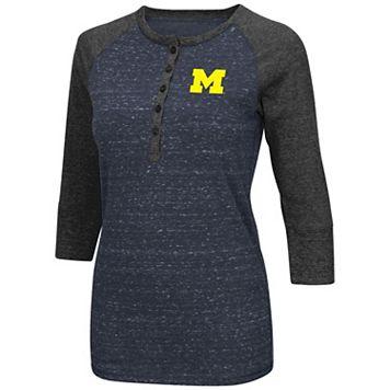 Women's Campus Heritage Michigan Wolverines 3/4-Sleeve Henley Tee