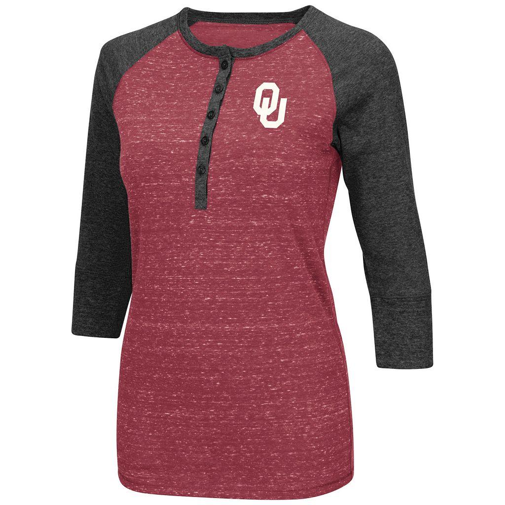 Women's Campus Heritage Oklahoma Sooners 3/4-Sleeve Henley Tee