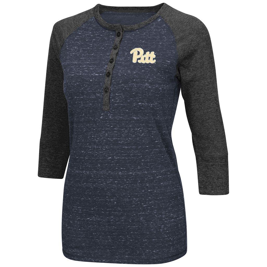 Women's Campus Heritage Pitt Panthers 3/4-Sleeve Henley Tee