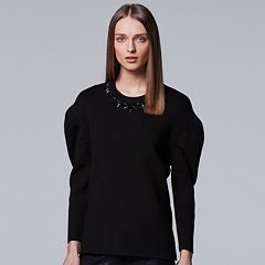 Women's Simply Vera Vera Wang 10th Anniversary Pleated Shoulder Crewneck Sweater