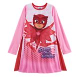 "Girls 4-8 PJ Masks Owlette ""Super Owl Wings"" Cape Dorm Nightgown"