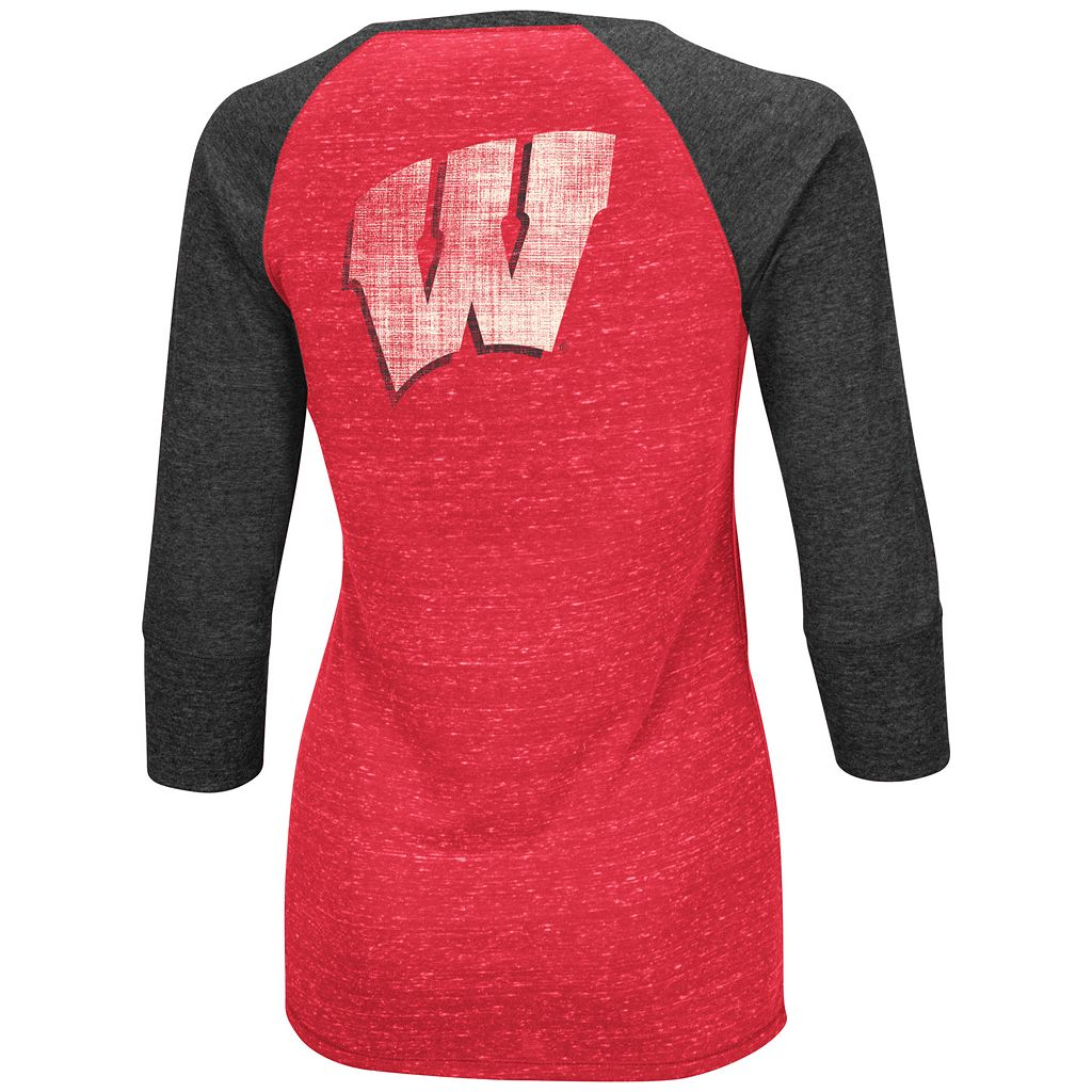 Women's Campus Heritage Wisconsin Badgers 3/4-Sleeve Henley Tee