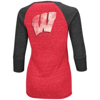 Women's Campus Heritage Wisconsin Badgers 3/4-Sleeve Henley Tee