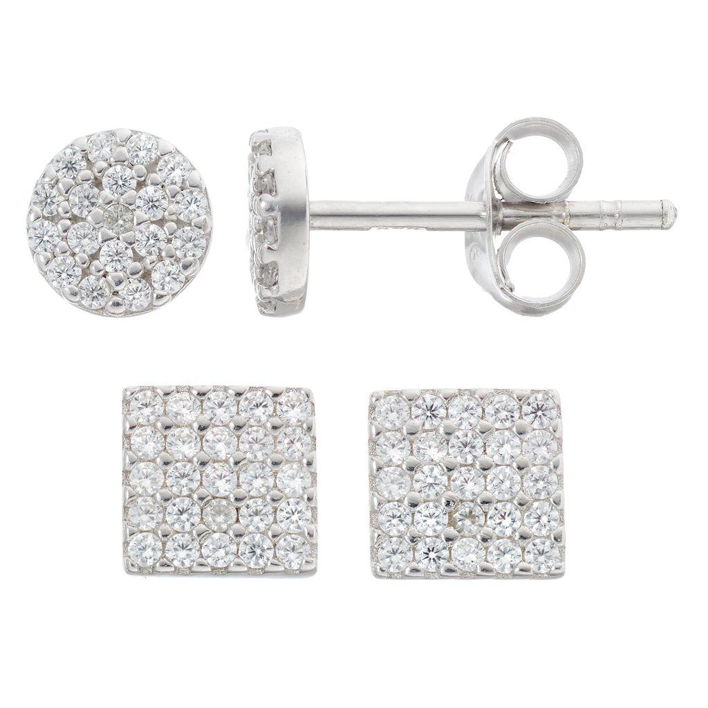 Fleur Silver Tone Cubic Zirconia Circle & Square Stud Earring Set