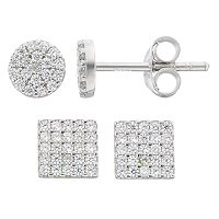 Fleur Silver Tone Cubic Zirconia Circle & Square Stud Earring Set