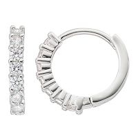 Fleur Silver Tone Cubic Zirconia Hoop Earrings