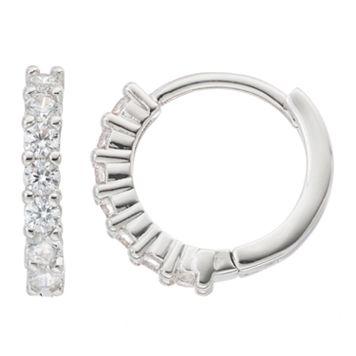 Fleur Silver Tone Cubic Zirconia Hoop Earrings