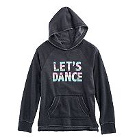 Girls 7-16 SO® Raw Edge Graphic Fleece-Lined Hoodie