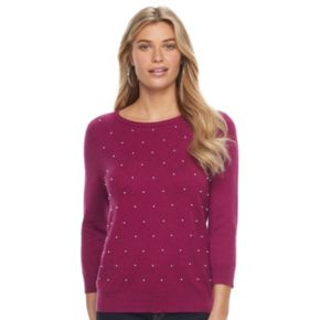 Women's ELLE™ Beaded Crewneck Sweater