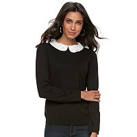 Women's ELLE™ Lace Collar Mock-Layer Sweater