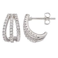 Fleur Silver Tone Cubic Zirconia J-Hoop Earrings