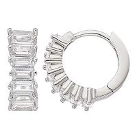 Fleur Silver Tone Cubic Zirconia Huggie Hoop Earrings