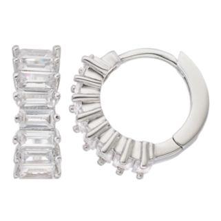 Fleur Silver Tone Cubic Zirconia Huggie Hoop Earrings