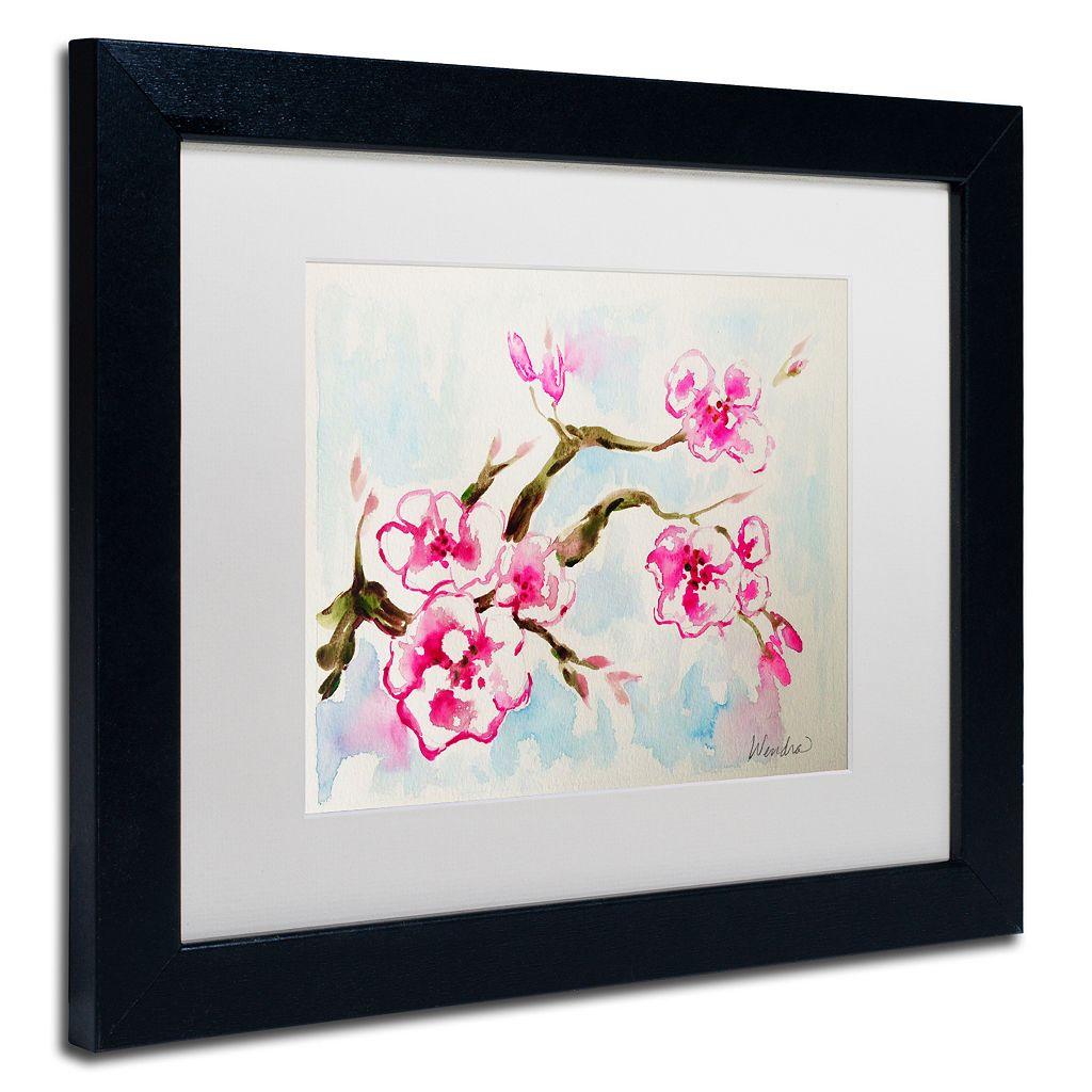 Trademark Fine Art Cherry Blossom Black Framed Wall Art