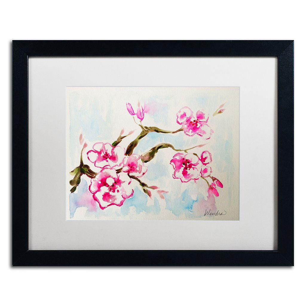 Trademark Fine Art Cherry Blossom Black Framed Wall Art