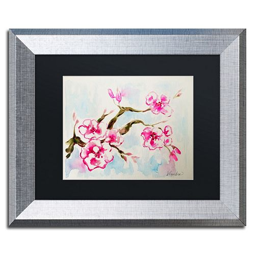 Trademark Fine Art Cherry Blossom Silver Finish Framed Wall Art