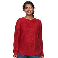 Juniors' Plus Size SO® Shirttail Cable-Knit Sweater