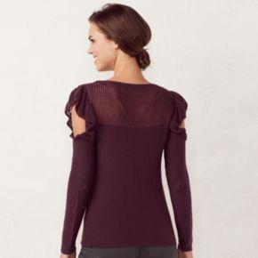 Women's LC Lauren Conrad Ruffle Cold-Shoulder Crewneck Sweater