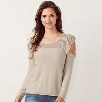 Women's LC Lauren Conrad Ruffle Cold-Shoulder Crewneck Sweater