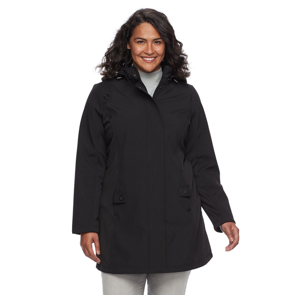Plus Size Weathercast Hooded Soft Shell Jacket