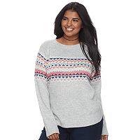 Junior's Plus Size SO® Fair Isle Mockneck Sweater