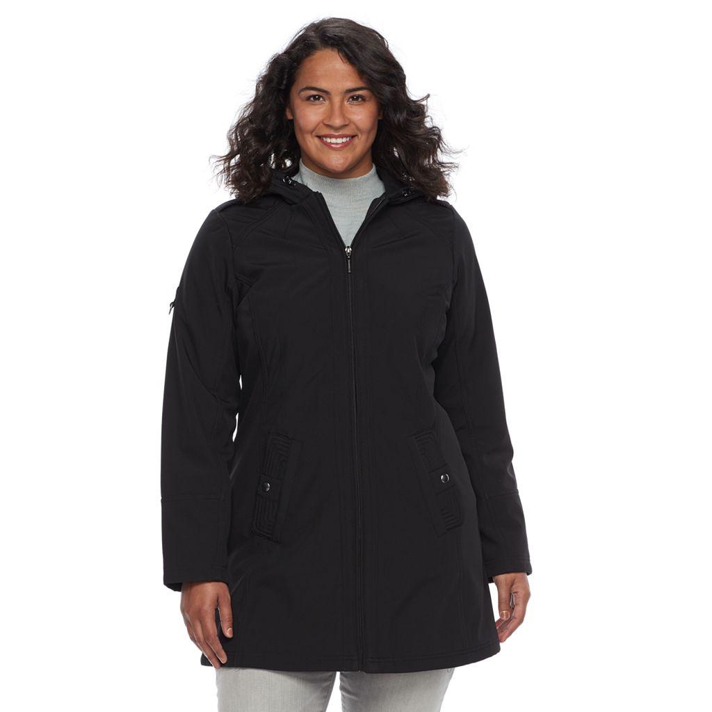 Plus Size Weathercast Hooded Soft Shell Jacket