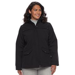 Plus Size Weathercast Hooded Soft Shell Rain Jacket