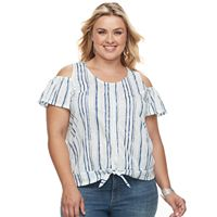Plus Size French Laundry Cold-Shoulder Tie Front Top