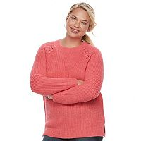Juniors' Plus Size SO® Raglan Crewneck Sweater