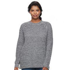 Juniors' Plus Size SO® Raglan Crewneck Sweater