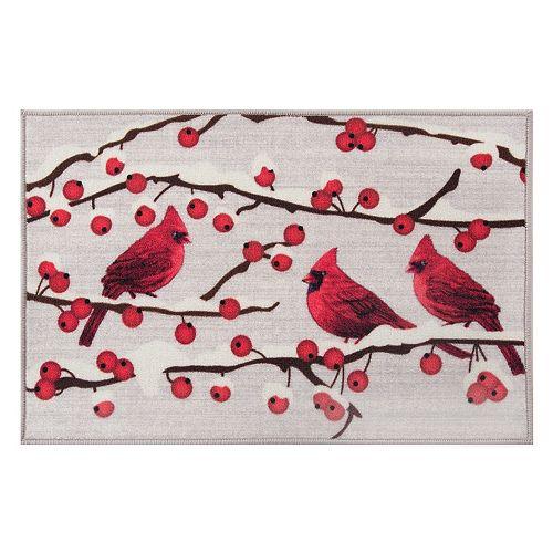 "Natco Holiday Cardinal Winter Berries Rug - 20"" x 30"""