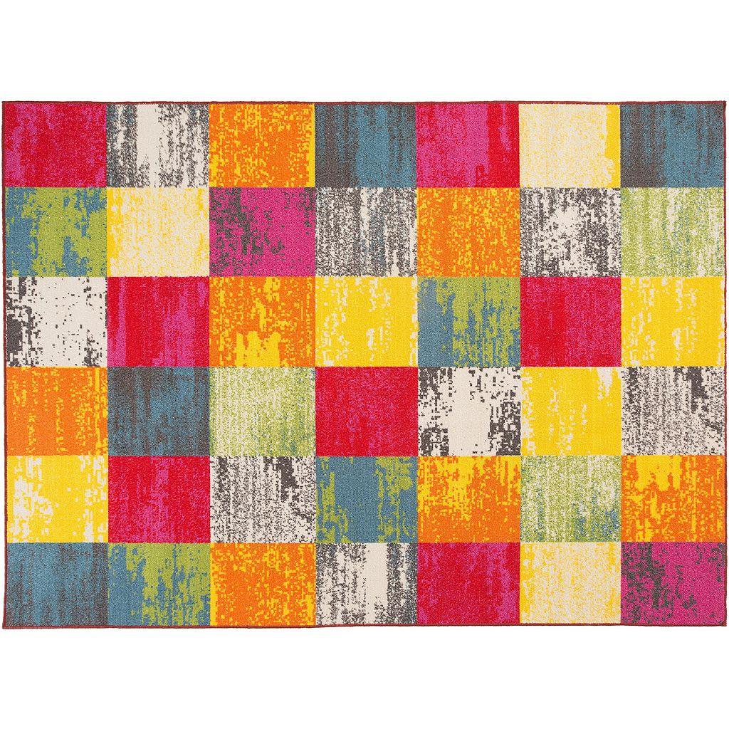 World Rug Gallery Avora Colorful Modern Squares Rug