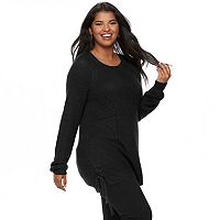 Juniors' Plus Size SO® Lace-Up Tunic Sweater