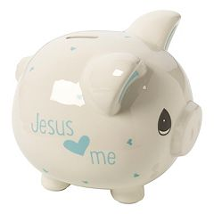 Precious Moments 'Jesus Loves Me' Blue Piggy Bank