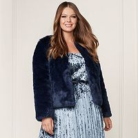 LC Lauren Conrad Runway Collection Faux-Fur Jacket - Plus Size