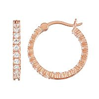 14k Rose Gold Over Silver Lab-Created White Sapphire Inside Out Hoop Earrings