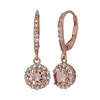 Simulated Morganite & Lab-Created White Sapphire 14k Rose Gold Over Silver Halo Drop Earrings
