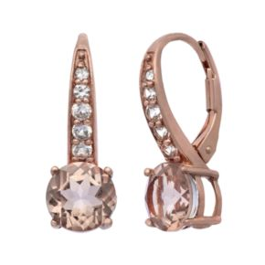 Simulated Morganite and Lab-Created White Sapphire 14k Rose Gold Over Silver Drop Earrings