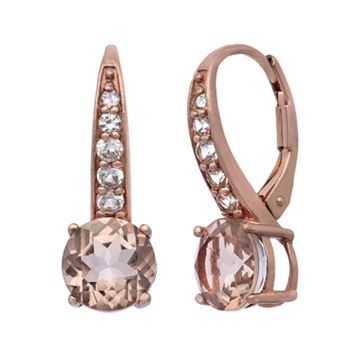 Simulated Morganite & Lab-Created White Sapphire 14k Rose Gold Over Silver Drop Earrings