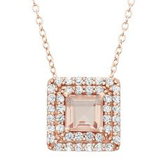 Simulated Morganite & Lab-Created White Sapphire 14k Rose Gold Over Silver Square Halo Pendant Necklace