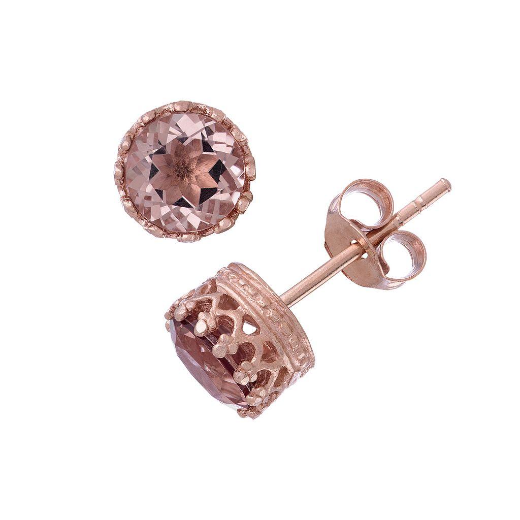 14k Rose Gold Over Silver Simulated Morganite Stud Earrings